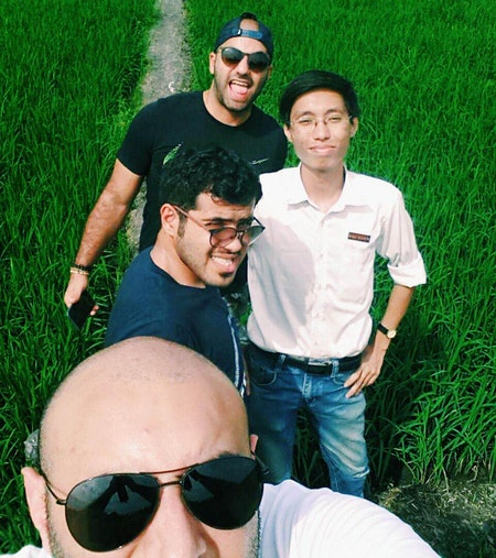 Take off your shoes and walk through the rice paddy field, like a local