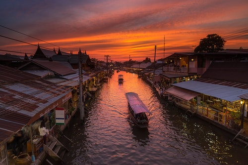 Thailand's floating markets sunset