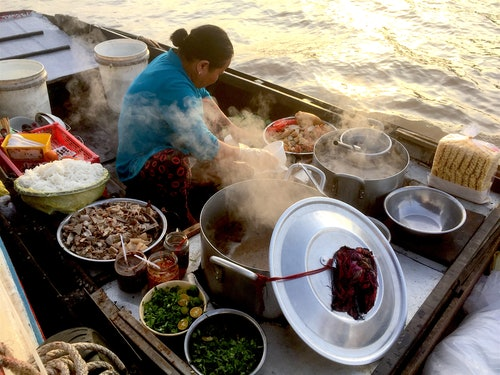 Lots of Mekong Delta specialties served on floating boats